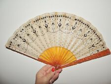 Victorian Ivory Silk Gold / Silver Spangled Fan / Amber Colored Carved Guards