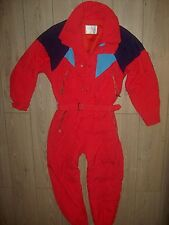 VINTAGE 80S MAIER MULTICOLOURED RED SKI SNOWBOARD SUIT ONEPIECE ONESIE 50EU M/L