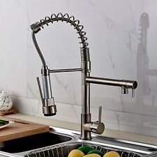 Brushed Nickel Swivel Spout Kitchen Sink Faucet Pull Down Spray Spring Mixer Tap