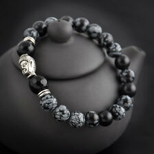 Hot natural White spot stone bead 8mm Tibet silver Buddha lucky man bracelet