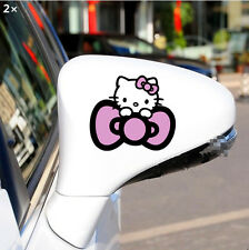 2pcs Rearview Mirror Pink Reflective Cute Hello kitty Car Decal Sticker New Girl