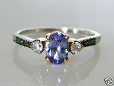 Beautiful 9ct White & Rose Gold Tanzanite, Zircon & Blue Diamond Ring Size S