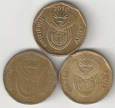 3 DIFFERENT 20 CENT COINS from SOUTH AFRICA (2008, 2009 & 2010)