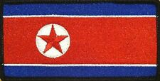 NORTH KOREA FLAG Iron-on PATCH KOREAN DPRK KING JONG UN RARE BLACK Border #04