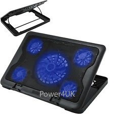Laptop Cooling Pad 5 Fan Adjustable Stand Blue LED USB Port (S600)