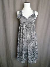 Theory Gray Silk Snakeskin Print Baby Doll Surplice Cross Back Dress- 4
