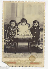 3 CHARMING INDIAN CHILDREN INCLUDING IDENTICAL TWINS, BOMBAY INDIA CABINET PHOTO