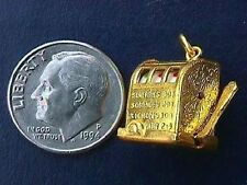 Vintage gold LAS VEGAS ATLANTIC CITY SLOT MACHINE MOVEABLE GAMBLING charm RARE