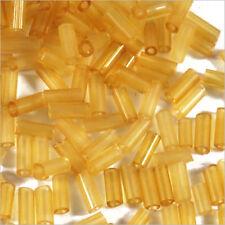 perline rocaille Tubi in vetro Trasparente 4x2mm Giallo miele 20g