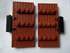 LEGO NEW REDDISH BROWN STOCKADE DOOR  WITH BROWN LATHS & BLACK HINGE 876001