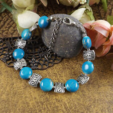 Free shipping New Tibet silver multicolor jade turquoise bead bracelet S05
