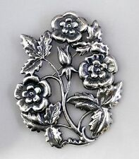 #3032 ANTIQUED SS/P OPEN FLORAL DESIGN BROOCH - 1 Pc Lot
