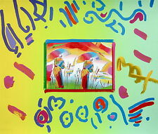 Two Sages, Original Mixed Media Painting, Peter Max