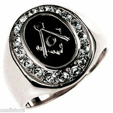 Masonic Mason .925 Sterling Silver Clear Stones Mens Ring Size 10
