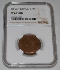 1886 Great Britain Half Penny Graded by Ngc as Ms 63 Rb
