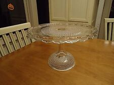 "Antique Vintage Elegant Tall Glass Cake Stand EAPG 11 3/8"" Dia. DEWDROP & STAR"