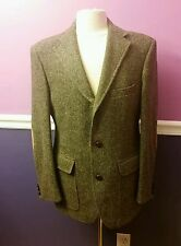 Men's ORVIS Tweed Wool  Sport Coat Jacket Elbow Patches Leather Buttons 40R