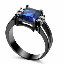 Jewelry Ring Size 6 Blue Sapphire Lady's 10KT Black Gold Filled Engagement