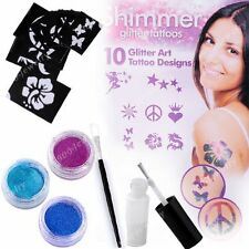 Body Art Shimmer Glitter Powders Kit Tattoos Stencils Brushes Glues Punk Cool