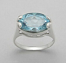 Solid Sterling Silver Blue Topaz Oval Ring $150 sz8 CLASSIC BEAUTY