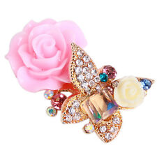 25x Gold Plated Colorful Rhinestone Butterfly Resin Flower Jewelry Charms DIY C