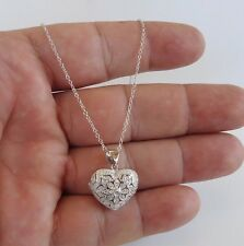 925 STERLING SILVER HEART LOCKET NECKLACE PENDANT W/ .65 CT LAB DIAMONDS/ 18''