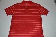 NIKE GOLF RED WHITE STRIPED DRY FIT POLO SHIRT MENS SIZE MEDIUM M