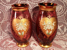 Pair of Lg. Antique Czech Bohemian Cranberry Glass Hand Painted Vases Gold Trim