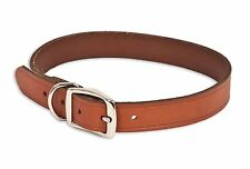 "CLASSIC 18"" LEATHER DOG COLLAR BROWN  1"" WIDE"
