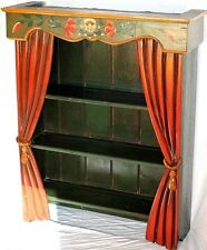 ANTIQUE CARVED & PAINTED FOLK ART BOOKCASE / DISPLAY SHELF W/ THEATRE CURTAINS.