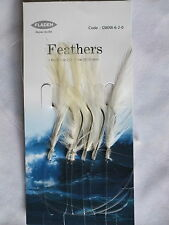 6 Packs White Feathers 6 hook size 2/0 fishing mackerel lures sea pollack cod