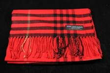 100% Cashmere Scarf Soft 72X12 Red Black Warm Scotland Wool Check Plaid Wrap C75