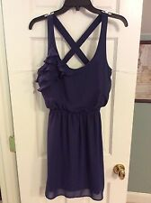 Eyelash Couture Navy Blue with Ruffles Dress Womens Size Small