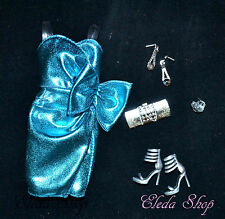 METALLIC BLUE DRESS & SHOES SET FOR CITY SHINE MODEL MUSE BARBIE DOLL
