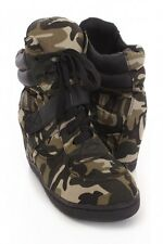 Camouflage Lace Up Sneaker Wedges Canvas Size 7.5