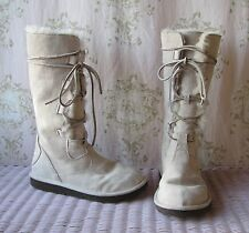 Rare! UGG *Whitley* Sand Cream Suede Sheepskin Tall Lace-Up Winter Boots 5/5.5/6
