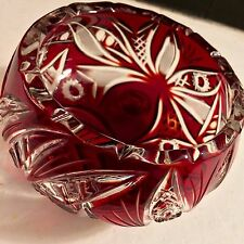Cut to Clear Ruby Red Bohemian Crystal Footed Candy Dish