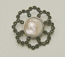 Macy's Open Floral 925 Sterling Silver Marcasite Brooch/Pin Shell Center NWT $64