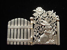 """JJ"" Jonette Jewelry Silver Pewter Rabbit Garden Gate Pin ~ Opens UP!"