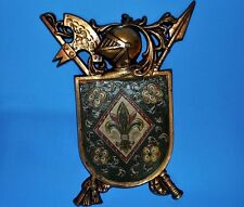 Vtg Knight Shield of Armour WALL PLAQUE Metal Medieval Coat of Arms