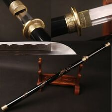 Fully Handmade Chinese Straight Sword Round Handle Engraved Dragon Carbon Steel