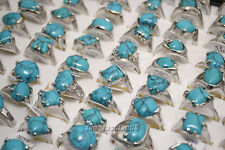 wholesale jewelry lots 10pcs women's turquoise silver plated rings free shipping