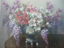 VINTAGE 1960s VERNON WARD PRINT Flowers in Vase unframed Still Life