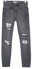 Topshop PETITE Skinny JAMIE High Waisted RIPPED Grey Jeans Size 8 10 W28 L28