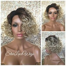 Short Curly Lace Front Bob Wig Ash Blonde Dark Root Heat Safe Ok
