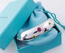 Tiffany&Co Silver Gold Etoile Gemstone Peridot Sapphire Tourmaline Bracelet Cuff