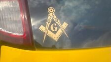 "10 - 3"" Masonic Square Compass Decals Sticker Gold Freemason Truck Quality 009"