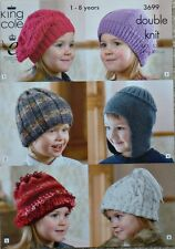 KNITTING PATTERN Childrens Hats 6 Styles Beret Earflap Beanie DK King Cole 3699