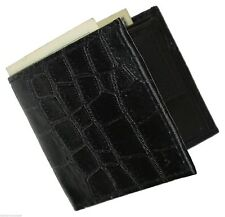 Black Genuine Men's LEATHER ALLIGATOR CROCOCODILE MENS BIFOLD WALLET FLAP TOP