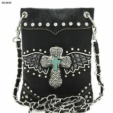 WESTERN CROSS & WINGS MINI HIPSTER CELL PHONE /MESSENGER BAG
